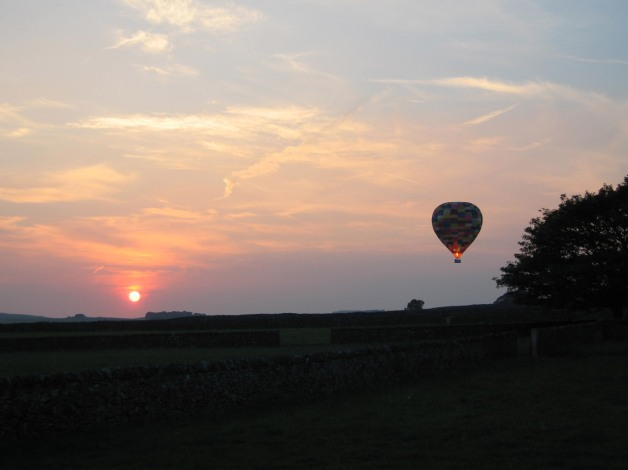 Evening hot-air ballooning