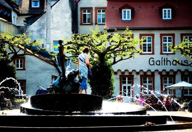 Girl in fountain - Heidelberg, Germany