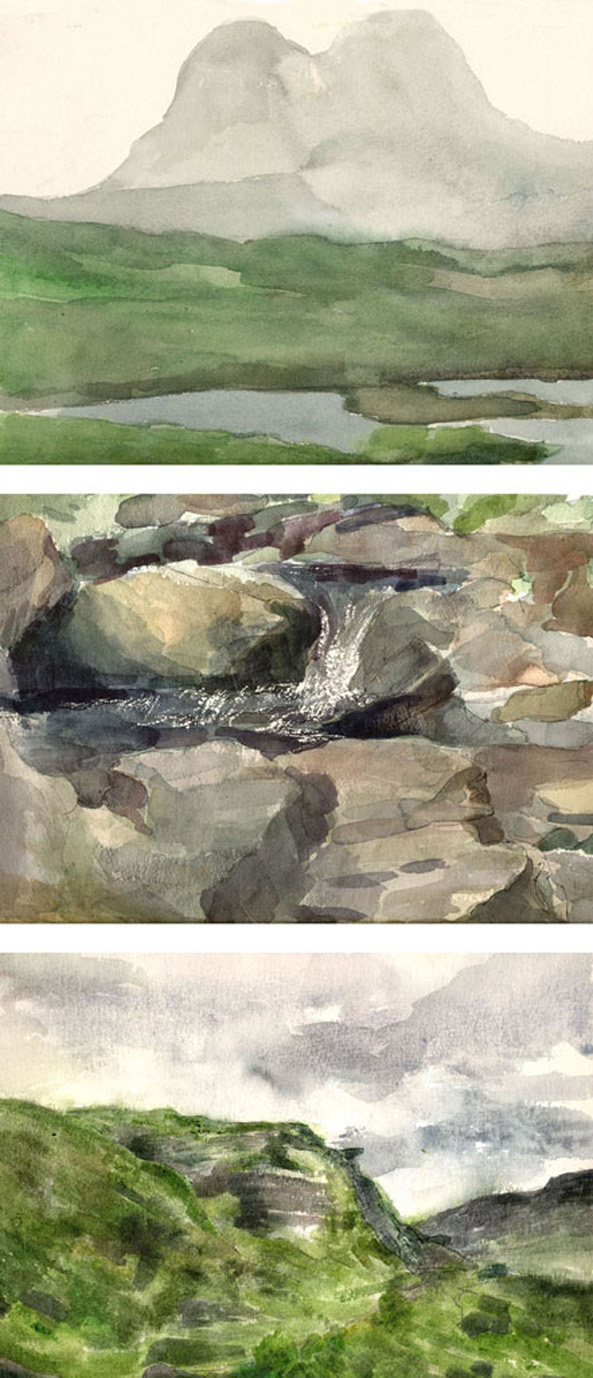 Pages from Scottish landscape watercolours sketchbook