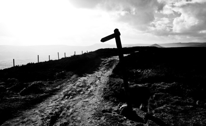 Silhouetted signpost - Win Hill, Derbyshire