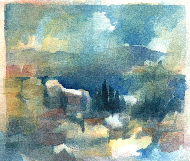 """Cote d""""Azur, South of France watercolour"""