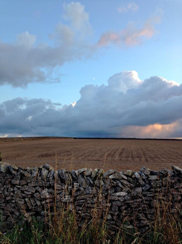 moon, clouds, field, wall